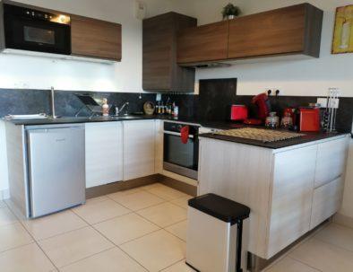 La cuisine est très bien équipée: vitro-céramique, lave-vaissele et lave-linge, four, micro-ondes, frigo, hotte, ...